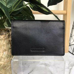 Vintage Country Road Black Leather Card Holder